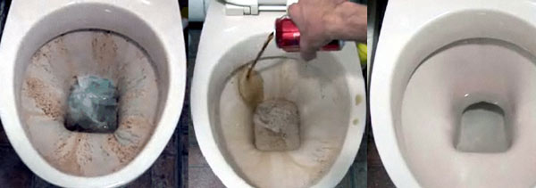 Use Coke to Clean A toilet bowl ring